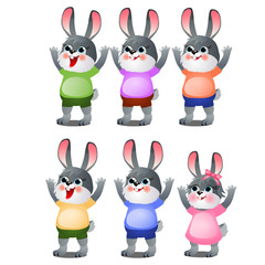 A set of animated happy little bunnies in clothes isolated on white background. Vector cartoon close-up illustration.