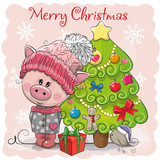 Greeting card Cute Pig in a hat and scarf