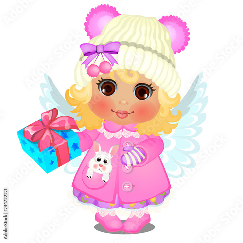 61310c477 Animated cute little girl in winter clothes with knitted cap with ...