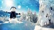 Quadro snowman in winter wonderland alpin
