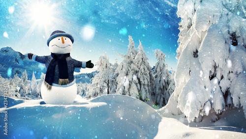 snowman in winter wonderland alpin