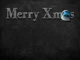 3d illustration rendering of Merry Christmas on blackboard with astronaut helmet decoration - 234734405