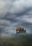 Cabin on hill under cloudy sky. Old master painting style. - 234738670