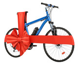 Bicycle with bow and ribbon, gift concept. 3D rendering
