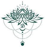 Lotus, Lotusblume mit Om Symbol und Mond. Grün.