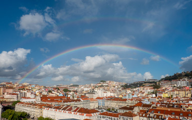 aerial view of Lisboa with rainbow