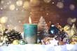 Leinwanddruck Bild - Weihnachten Kerze türkis - Adventskerze Türkis Giltzer