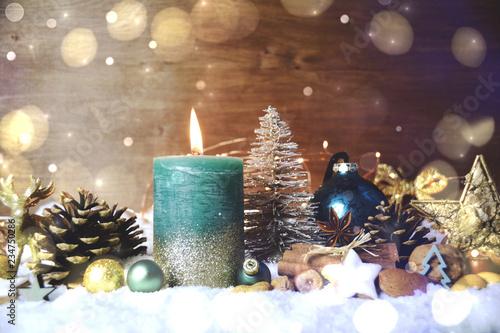 Leinwanddruck Bild Weihnachten Kerze türkis - Adventskerze Türkis Giltzer
