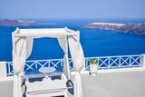 Wedding location with spectacular view over volcanic caldera on Santorini Island, Greece