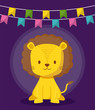 cute lion with garlands icon