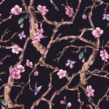 Vintage watercolor spring garden seamless pattern with pink flowers blooming branches of cherry, peach, pear - 234762858