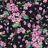 Watercolor spring vintage floral seamless pattern with pink blooming branches of cherry peach, pear, sakura - 234763015