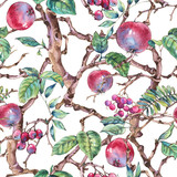 Watercolor summer vintage floral seamless pattern with branches of apple - 234763031