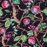Watercolor summer vintage floral seamless pattern with branches of apple - 234763082