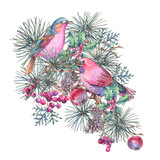 Christmas Vintage Floral Greeting Card, New Year Decoration with Bird, Pine Branches - 234763880