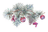 Christmas Vintage Floral Greeting Card, New Year Decoration with Apples, - 234763896