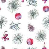 Christmas Vintage Floral Seamless Pattern, New Year Decoration with Apples - 234764067