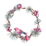 Christmas Vintage Floral Wreath, New Year Decoration with Apples, Leaves, Pine Branches, Berries, - 234764254
