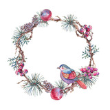 Christmas Vintage Floral Wreath, New Year Decoration with Apples, Leaves, Pine Branches, Berries, - 234764273