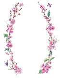 Watercolor spring greeting card, vintage floral wreath with pink branches of cherry - 234764405