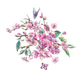 Watercolor spring greeting card, vintage floral bouquet with pink blooming branches of cherry - 234764437