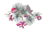 Christmas Vintage Floral Greeting Card, New Year Decoration with Apples, - 234764454