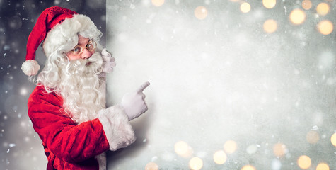 Santa Claus Pointing Blank Billboard