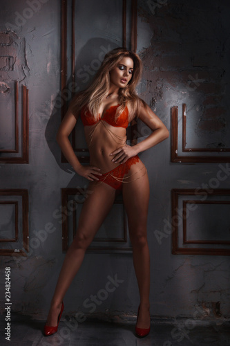 Slim attractive sexy blond model in home. Fashion art photo - 234824458