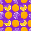 Leinwandbild Motiv Orange seamless pattern. Sketch oranges. Citrus fruit background. Elements for menu, greeting cards, wrapping paper, cosmetics packaging, posters etc