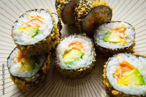 Hot Roll Salmon Japanese Sushi