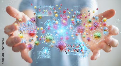 Leinwanddruck Bild Businessman analyzing bacteria microscopic close-up 3D rendering