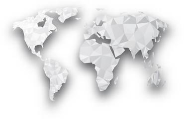 Gray geometric abstract world map. © Vjom