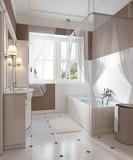 Classic style bathroom decoration, vanity, bath.
