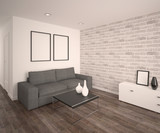 Modern living room with sofa. Parquet floor, bricks wall. Empty frames and vases. 3d architecture visualization - 234861295