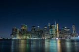View of the city of New York and the bay. New York.   Long light exposure.