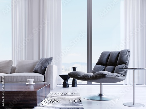 Designer black chair by the window in a modern interior. depth of field effect. © ostap25