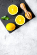 freshly squeezed orange juice on concrete background top view