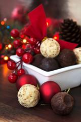 Christmas dessert background. White chocolate truffle. Soft focus.