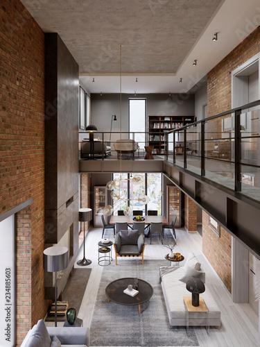 Loft Modern Interior Designed As A Open Plan Apartment Including Kitchen