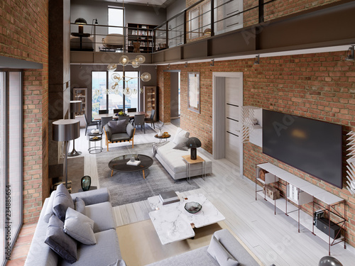 Large Modern Loft Style Apartment With Sofas Armchair Fireplace Brick Wall
