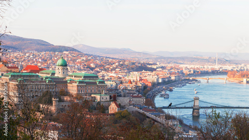 Skyline of Budapest, Hungary, view of danube and buda palace.