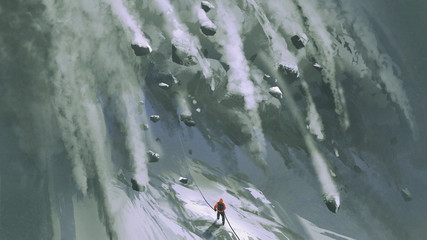 scene of the climber man and snow rocks falling rapidly down a mountainside, digital art style, illustration painting