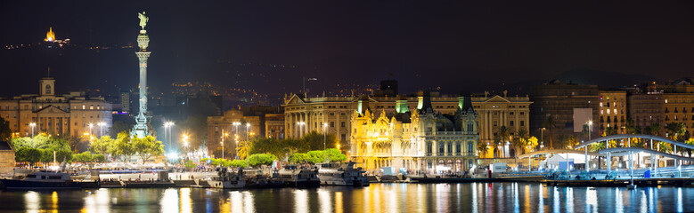 Panorama of Port Vell at Barcelona in night © JackF