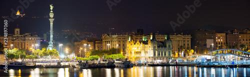 fototapeta na ścianę Panorama of Port Vell at Barcelona in night