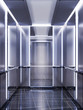 Leinwanddruck Bild - Futuristic design of an elevator cabin with mirrors with neon illumination and metal panels. Modern elevator design. Reflection to infinity.