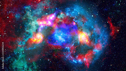 Nebula and stars in outer space. Elements of this image furnished by NASA. - 234903234