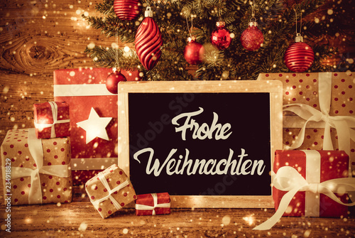 Leinwanddruck Bild Bright Tree, Gifts, Calligraphy Frohe Weihnachten Means Merry Christmas
