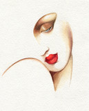 abstract woman face. fashion illustration. watercolor painting - 234922678