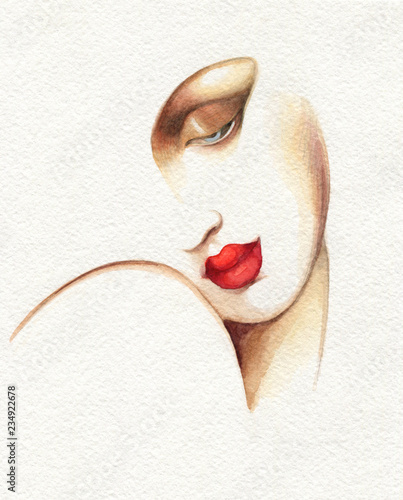 Fototapety, obrazy : abstract woman face. fashion illustration. watercolor painting