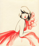 beautiful woman. fashion illustration. watercolor painting - 234922805